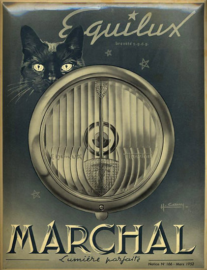 Marchal Equilux Lumiere Parfaite 1952 Black Cat | Vintage Ad and Cover Art 1891-1970
