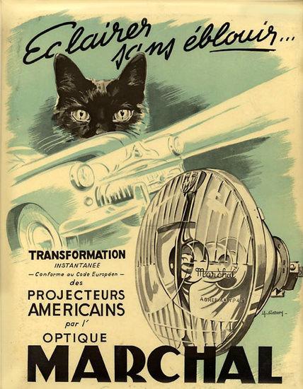 Marchal Optique Black Cat 1950 | Vintage Ad and Cover Art 1891-1970
