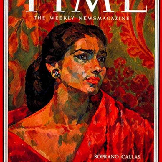 Maria Callas Time Magazine 1956-10 by Henry Koerner crop | Best of Vintage Cover Art 1900-1970