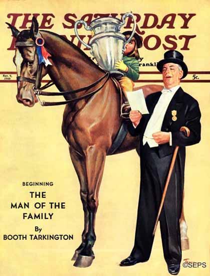 Mariam Troop Saturday Evening Post Big Trophy Little Girl 1940_11_09 | The Saturday Evening Post Graphic Art Covers 1931-1969