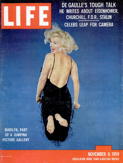 Marilyn Monroe Jumping Pictures 9 Nov 1959 Copyright Life Magazine | Life Magazine Color Photo Covers 1937-1970