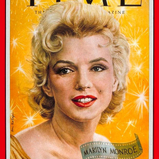 Marilyn Monroe Time Magazine 1956-05 by Boris Chaliapin crop | Best of Vintage Cover Art 1900-1970