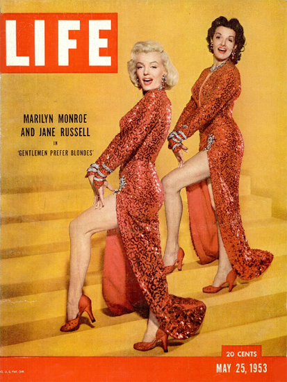 Marilyn Monroe and Jane Russell 25 May 1953 Copyright Life Magazine   Life Magazine Color Photo Covers 1937-1970