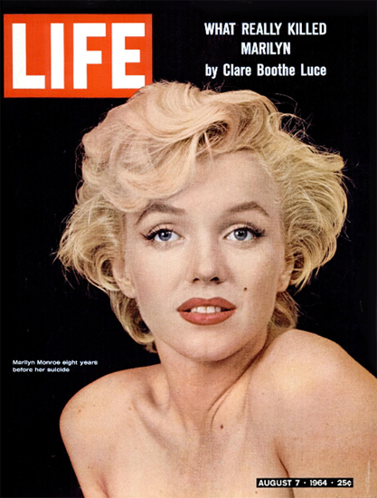 Marilyn Monroe what Killed Her 7 Aug 1964 Copyright Life Magazine | Life Magazine Color Photo Covers 1937-1970