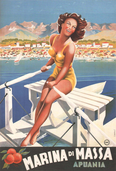 Marina Di Massa Apuania Girl On A Rowboat Italia | Sex Appeal Vintage Ads and Covers 1891-1970