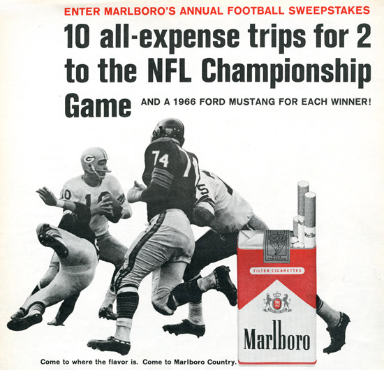 Marlboro 10 Trips For NFL Championship 1966 | Vintage Ad and Cover Art 1891-1970