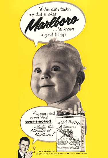 Marlboro Baby My Dad Smokes Knows Good 1951 | Vintage Ad and Cover Art 1891-1970