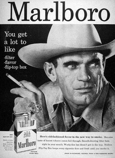 Marlboro Cigarettes 1957 Marlboro Man Cowboy   Vintage Ad and Cover Art 1891-1970