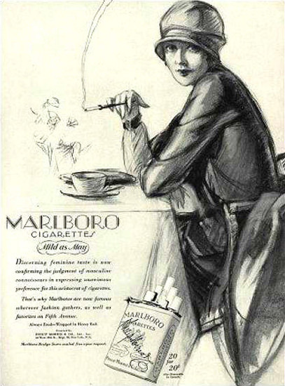 Marlboro Cigarettes Lady 1927 Mild As May | Sex Appeal Vintage Ads and Covers 1891-1970