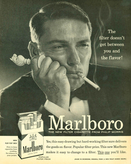 Marlboro Cigarettes Marlboro Man 1958 Player | Sex Appeal Vintage Ads and Covers 1891-1970