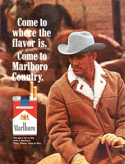 Marlboro Cigarettes Marlboro Man 1965 | Vintage Ad and Cover Art 1891-1970