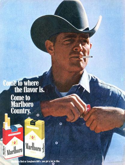 Marlboro Cigarettes Marlboro Man 1968 | Vintage Ad and Cover Art 1891-1970