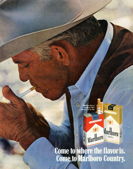 Marlboro Cigarettes Marlboro Man 1970 Lighting | Vintage Ad and Cover Art 1891-1970