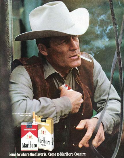 Marlboro Cigarettes Marlboro Man 1970 Pause | Vintage Ad and Cover Art 1891-1970
