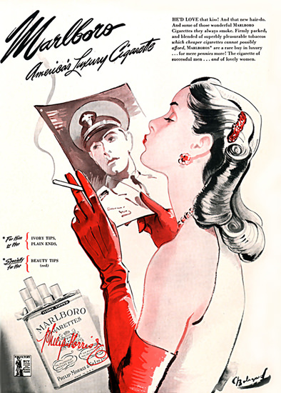 Marlboro Cigarettes The Kiss 1944   Sex Appeal Vintage Ads and Covers 1891-1970