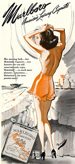 Marlboro Cigarettes Topless Girl 1944 | Sex Appeal Vintage Ads and Covers 1891-1970