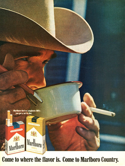 Marlboro Come To Marlboro Country 1969 Coffee   Vintage Ad and Cover Art 1891-1970