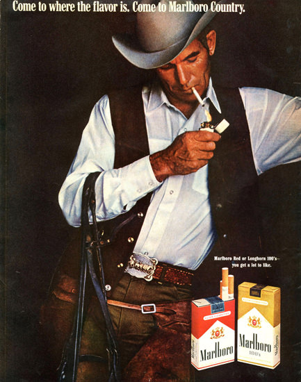 Marlboro Come To Marlboro Country 1970 Dark | Sex Appeal Vintage Ads and Covers 1891-1970