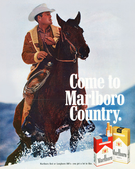 Marlboro Come To Marlboro Country 1970 Snow | Vintage Ad and Cover Art 1891-1970