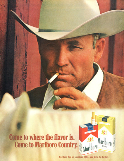 Marlboro Man 1970 White Horse | Sex Appeal Vintage Ads and Covers 1891-1970