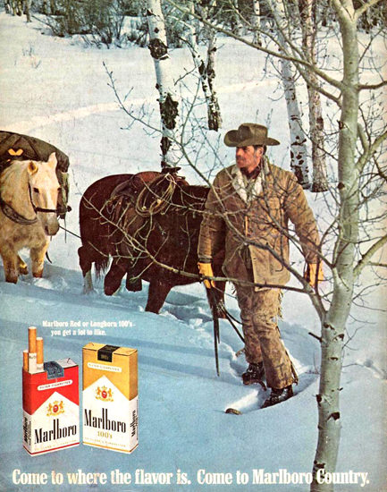 Marlboro Man In Snow Shoes 1969 | Vintage Ad and Cover Art 1891-1970