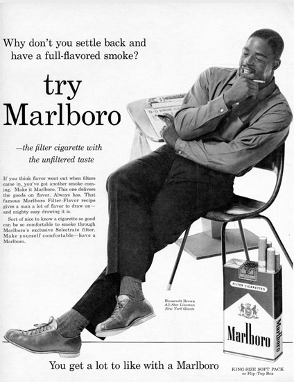 Marlboro Roosevelt Brown NY Giants 1965 | Vintage Ad and Cover Art 1891-1970