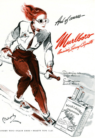 Marlboro Skiing Girl Americas Luxury 1942 | Vintage Ad and Cover Art 1891-1970