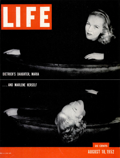 Marlene Dietrich and Maria Dietrich 18 Aug 1952 Copyright Life Magazine   Life Magazine BW Photo Covers 1936-1970