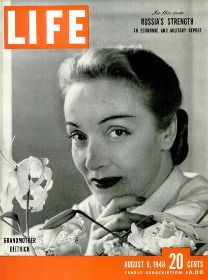 Marlene Dietrich is Grandmother 9 Aug 1948 Copyright Life Magazine | Life Magazine BW Photo Covers 1936-1970