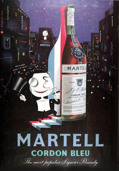 Martell Cordon Bleu Brandy 1957 By Night | Vintage Ad and Cover Art 1891-1970
