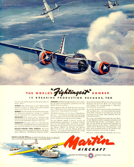 Martin Aircraft B-26 Fightingest Bomber 1941 | Vintage War Propaganda Posters 1891-1970