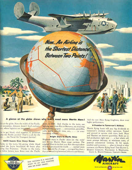 Martin Aircraft Between Two Points 1945 | Vintage Travel Posters 1891-1970