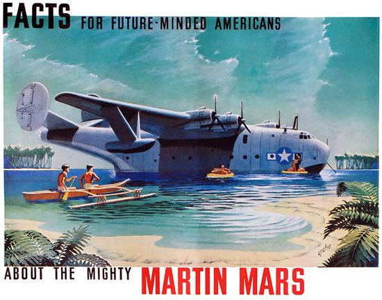 Martin JRM Mars US Navy Cargo Seaplane 1935 | Vintage Travel Posters 1891-1970
