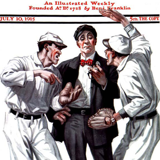 Martin Justice Saturday Evening Post Baseball 1915_07_10 Copyright crop | Best of Vintage Cover Art 1900-1970