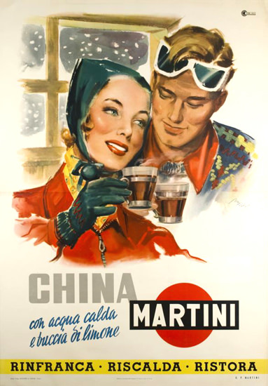 Martini China Con Acqua Calda E Di Limone 1950 | Sex Appeal Vintage Ads and Covers 1891-1970