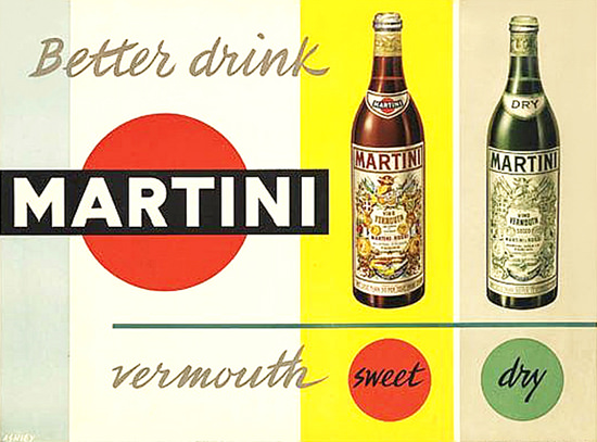 Martini Vermouth Sweet Dry 1955 | Vintage Ad and Cover Art 1891-1970