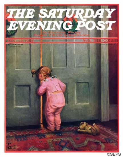 Mary Ellen Sigsbee Saturday Evening Post Christmas Peek 1934_12_22   The Saturday Evening Post Graphic Art Covers 1931-1969