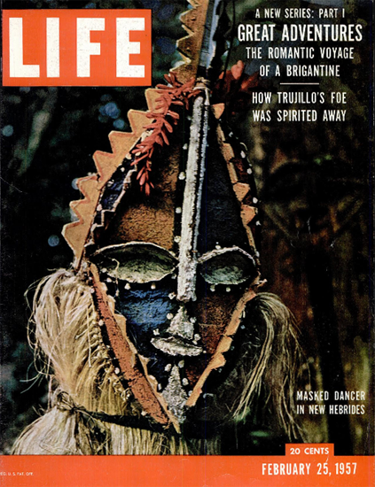 Masked Dancer in New Hebrides 25 Feb 1957 Copyright Life Magazine | Life Magazine Color Photo Covers 1937-1970