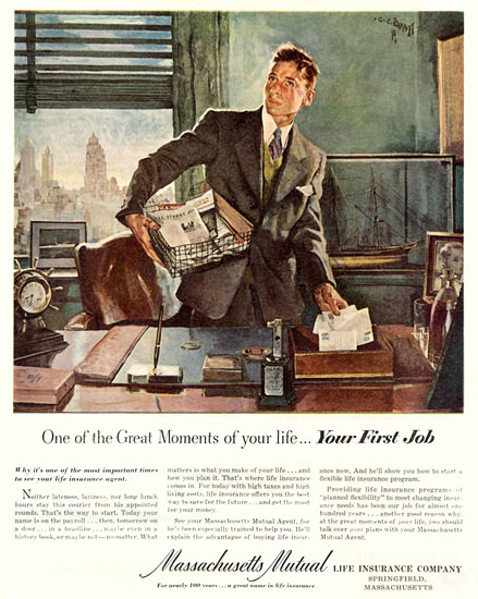 Massachusetts Mutual Your First Job | Sex Appeal Vintage Ads and Covers 1891-1970