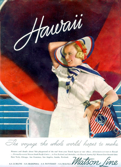 Matson Line Hawaii The Voyage 1935 | Vintage Travel Posters 1891-1970