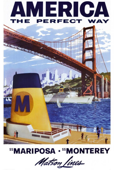 Matson Line SS Mariposa SS Monterey 1930s | Vintage Travel Posters 1891-1970