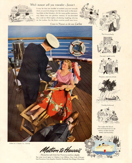 Matson Line To Hawaii 1950 | Vintage Travel Posters 1891-1970