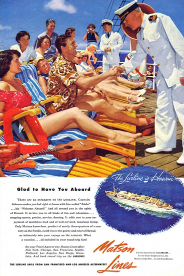Matson Lines Glad To Have You Aboard 1953 | Vintage Travel Posters 1891-1970
