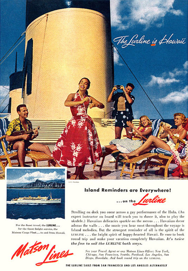 Matson Lines The Lurline Is Hawaii 1956 | Vintage Travel Posters 1891-1970