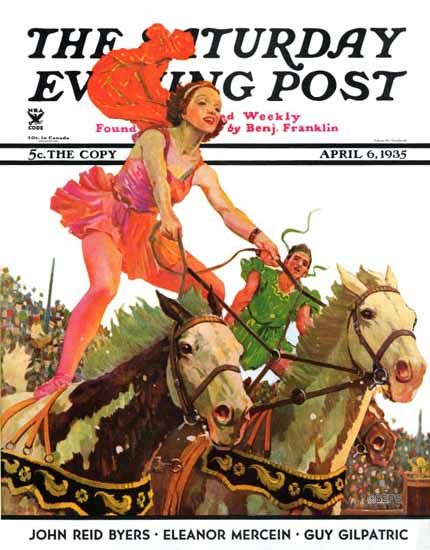Maurice Bower Saturday Evening Post Circus Bareback Riders 1935_04_06 | The Saturday Evening Post Graphic Art Covers 1931-1969