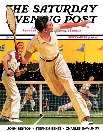 Maurice Bower Saturday Evening Post Doubles Tennis Match 1936_09_05 | The Saturday Evening Post Graphic Art Covers 1931-1969