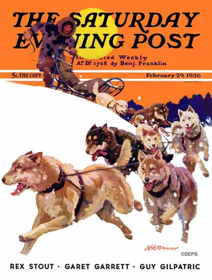 Maurice Bower Saturday Evening Post Eskimo and Dog Sled 1936_02_29 | The Saturday Evening Post Graphic Art Covers 1931-1969