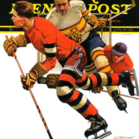 Maurice Bower Saturday Evening Post Hockey 1936_01_18 Copyright crop | Best of 1930s Ad and Cover Art