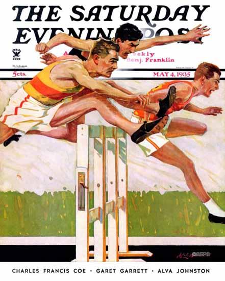 Maurice Bower Saturday Evening Post Hurdlers 1935_05_04 | The Saturday Evening Post Graphic Art Covers 1931-1969