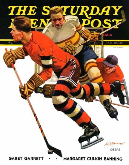 Maurice Bower Saturday Evening Post Ice Hockey Match 1936_01_18   The Saturday Evening Post Graphic Art Covers 1931-1969